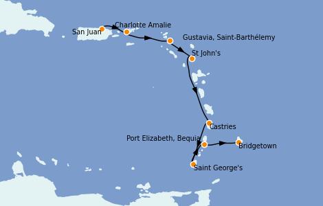 Itinerario del crucero Caribe del Este 7 días a bordo del Silver Dawn