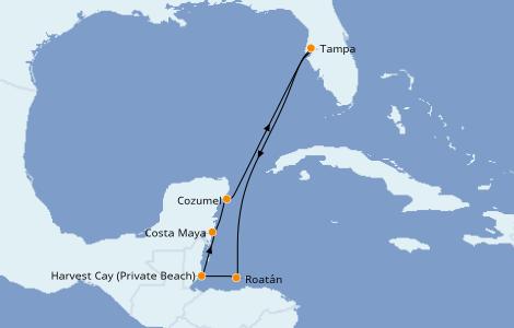 Itinerario del crucero Caribe del Oeste 7 días a bordo del Norwegian Dawn