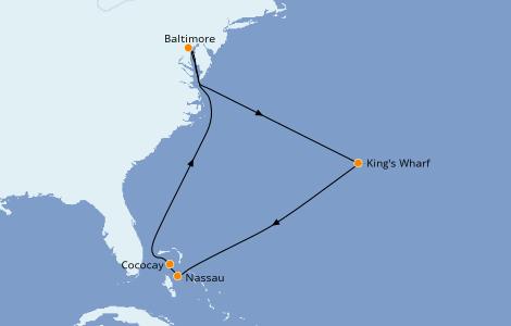 Itinerario del crucero Bahamas 9 días a bordo del Enchantment of the Seas