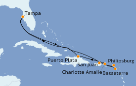 Itinerario de crucero Caribe del Este 11 días a bordo del Celebrity Constellation