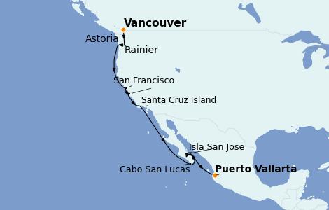 Itinerario del crucero Riviera Mexicana 16 días a bordo del Silver Wind
