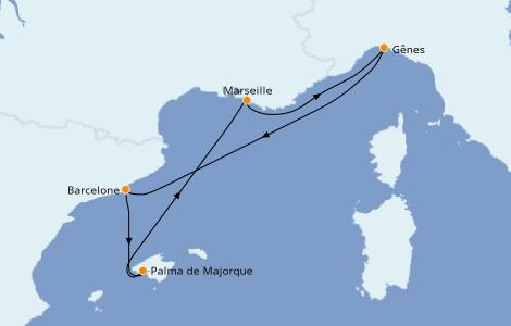Itinerario del crucero Mediterráneo 5 días a bordo del MSC Grandiosa