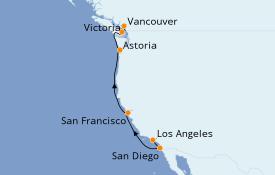 Itinerario de crucero California 8 días a bordo del Royal Princess