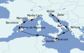Itinerario de crucero Mediterráneo 11 días a bordo del Seven Seas Voyager