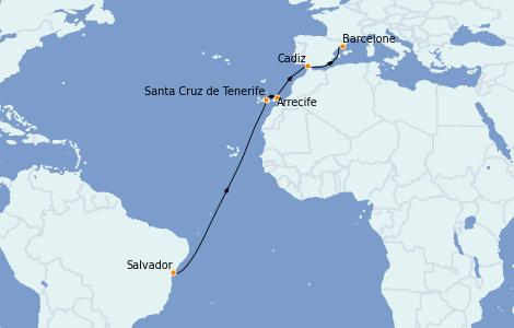Itinerario del crucero Trasatlántico y Grande Viaje 2022 13 días a bordo del Costa Smeralda