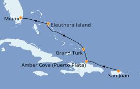 Itinerario de crucero Caribe del Este 6 días a bordo del Carnival Fascination