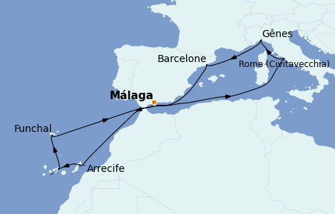Itinerario del crucero Mediterráneo 11 días a bordo del MSC Splendida