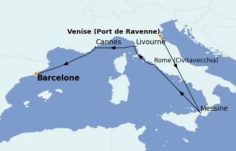 Itinerario del crucero Mediterráneo 7 días a bordo del Rhapsody of the Seas