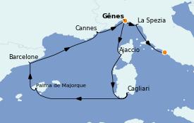 Itinerario de crucero Mediterráneo 10 días a bordo del MSC Meraviglia