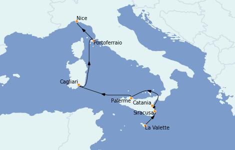 Itinerario del crucero Mediterráneo 7 días a bordo del Le Jacques Cartier
