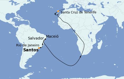 Itinerario del crucero Trasatlántico y Grande Viaje 2022 12 días a bordo del MSC Seaside