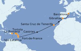 Itinerario de crucero Trasatlántico y Grande Viaje 2022 18 días a bordo del Costa Fortuna