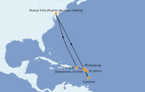 Itinerario del crucero Caribe del Este 11 días a bordo del Anthem of the Seas