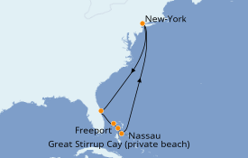Itinerario de crucero Bahamas 9 días a bordo del Norwegian Getaway