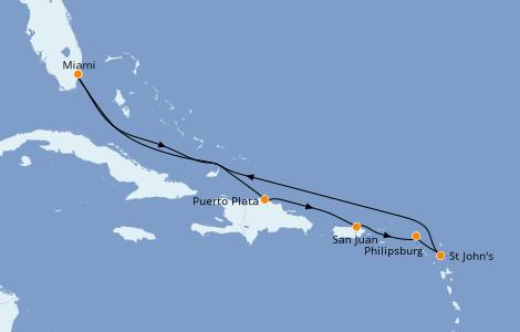 Itinerario del crucero Caribe del Este 8 días a bordo del Jewel of the Seas
