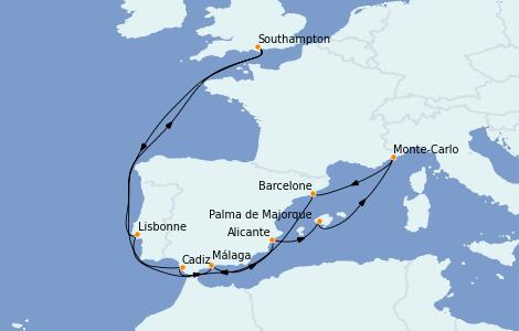 Itinerario del crucero Mediterráneo 14 días a bordo del MSC Magnifica