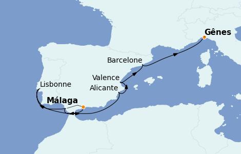 Itinerario del crucero Mediterráneo 7 días a bordo del MSC Fantasia
