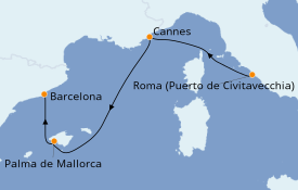 Itinerario de crucero Mediterráneo 4 días a bordo del MSC Seaview