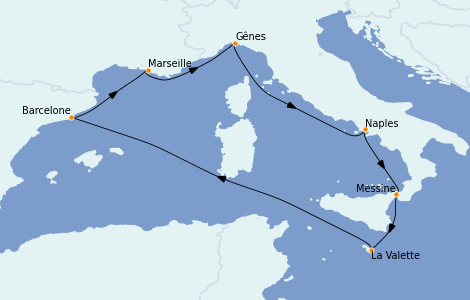 Itinerario del crucero Mediterráneo 7 días a bordo del MSC World Europa