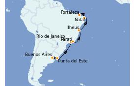 Itinerario de crucero Suramérica 15 días a bordo del Silver Wind