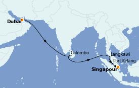 Itinerario de crucero Asia 13 días a bordo del Queen Elizabeth
