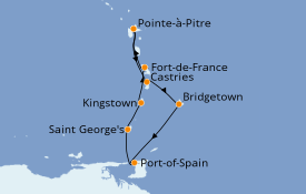 Itinerario de crucero Caribe del Este 8 días a bordo del MSC Seaview