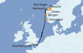 Itinerario de crucero Fiordos y Noruega 9 días a bordo del Crown Princess
