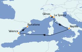 Itinerario de crucero Mediterráneo 6 días a bordo del Costa Firenze