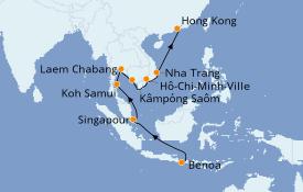Itinerario de crucero Asia 16 días a bordo del Seven Seas Explorer