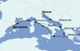 Itinerario de crucero Mediterráneo 13 días a bordo del ms Oosterdam