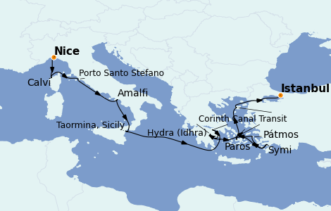 Itinerario del crucero Grecia y Adriático 13 días a bordo del Le Bougainville