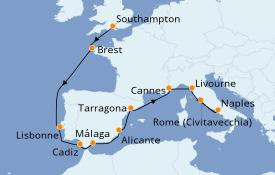 Itinerario de crucero Mediterráneo 12 días a bordo del Norwegian Escape