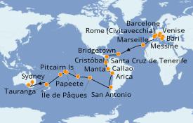 Itinerario de crucero Vuelta al mundo 2020 61 días a bordo del Costa Deliziosa
