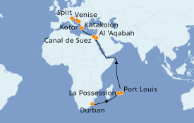 Itinerario de crucero Trasatlántico y Grande Viaje 2021 25 días a bordo del MSC Orchestra