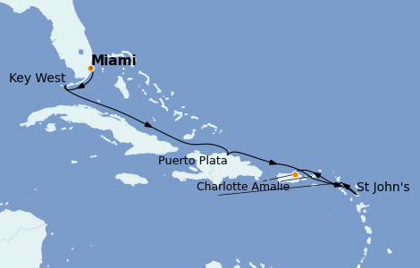 Itinerario del crucero Caribe del Este 7 días a bordo del Seven Seas Splendor