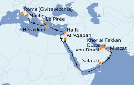 Itinerario de crucero Trasatlántico y Grande Viaje 2021 23 días a bordo del Costa Diadema