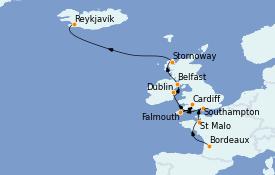 Itinerario de crucero Islas Británicas 13 días a bordo del Silver Whisper