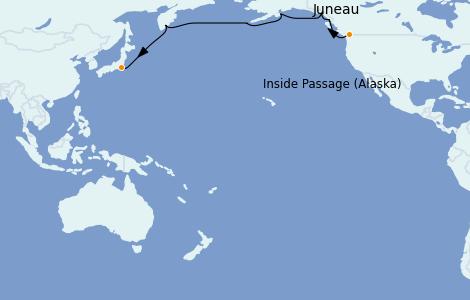 Itinerario del crucero Alaska 17 días a bordo del Silver Muse
