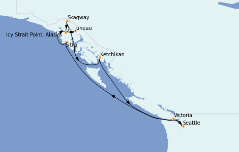 Itinerario del crucero Alaska 9 días a bordo del Norwegian Spirit