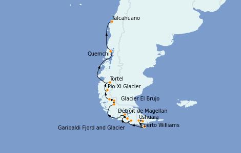 Itinerario del crucero Norteamérica 13 días a bordo del Le Boréal