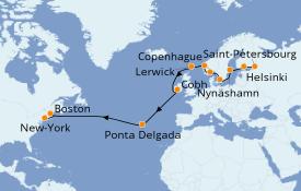 Itinerario de crucero Mar Báltico 20 días a bordo del Sky Princess