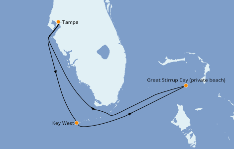 Itinerario del crucero Bahamas 4 días a bordo del Norwegian Dawn