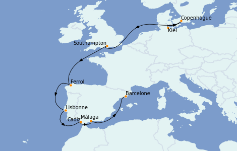 Itinerario del crucero Mediterráneo 11 días a bordo del MSC Grandiosa