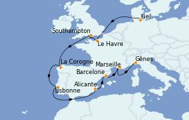Itinerario de crucero Mediterráneo 13 días a bordo del MSC Preziosa