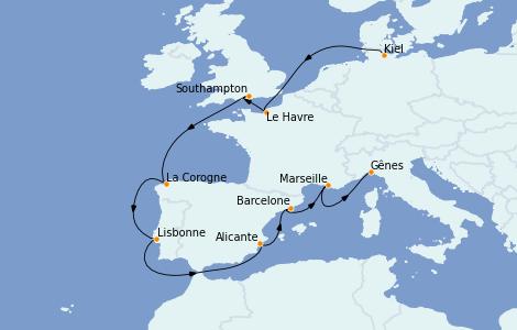 Itinerario del crucero Mediterráneo 12 días a bordo del MSC Preziosa