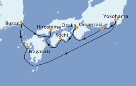 Itinerario de crucero Asia 10 días a bordo del Diamond Princess