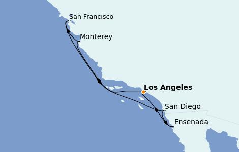 Itinerario del crucero California 7 días a bordo del Discovery Princess