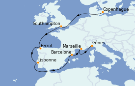 Itinerario de crucero Mediterráneo 11 días a bordo del MSC Seaview