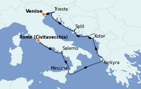 Itinerario de crucero Mediterráneo 8 días a bordo del Marina