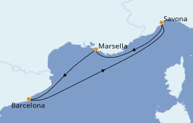 Itinerario de crucero Mediterráneo 5 días a bordo del Costa Fascinosa